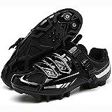 HYQW Zapatos De Bicicleta Hombres MTB Zapatos De Bicicleta SPD Mountain Bike Shoes Road Bike Shoes Zapatos De Bicicleta Al Aire Libre Transpirables VIIPOO,Black-47 EU