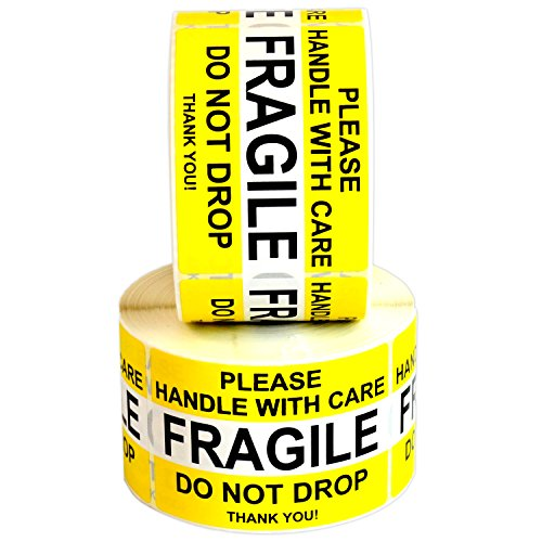 """Fragile Please Handle with Care Do Not Drop Label Stickers 2"""" x 3"""" 1000 Labels [2 Rolls x 500] Waterproof, Bright Yellow by Milcoast"""