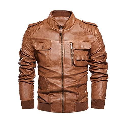 Benficial Men's Leather Motorcycle Jacket Zipper Fashion Vintage Casual Outdoor Windbreaker Jacket Coat Retro Bomber Jacket Brown