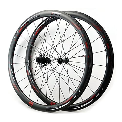Juego Ruedas Bicicleta Carretera 700C Llanta Bicicleta Doble Pared 40 50mm 7-12 Velocidad Freno Llanta Fibra Carbon Casete Cubo Rodamiento Sellado QR (Color : Vacuum Version, Size : 40mm)
