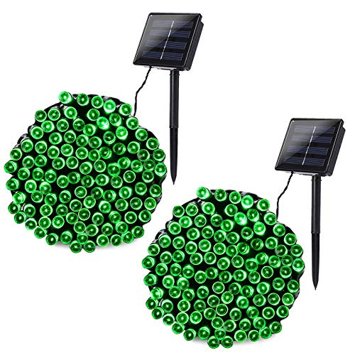Joomer 2 Pack Solar String Lights 72ft 200 LED 8 Modes Outdoor String Lights Waterproof Fairy Lights for Garden, Patio, Fence, Balcony, Outdoors (Green)