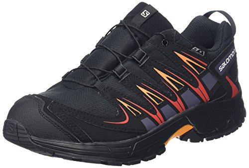 Salomon XA PRO 3D CSWP J, Scarpe da Trail Running Unisex - Bambini, Nero (Black/Black/Fiery Red 000), 32 EU