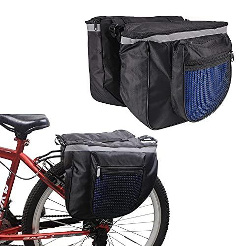 Borse Bici Posteriore Laterali, Borsa Doppia per Bicicletta Posteriore, Borsa Laterale Doppia da Bici, con Strisce Riflettenti, per il Sedile Posteriore della Bicicletta (Colore Casuale)