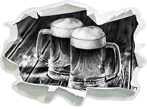 Monocrome, Zwei Maßkrüge Bier Papier im 3D-Look, Wand- oder Türaufkleber Format: 62x45cm, Wandsticker, Wandtattoo, Wanddekoration
