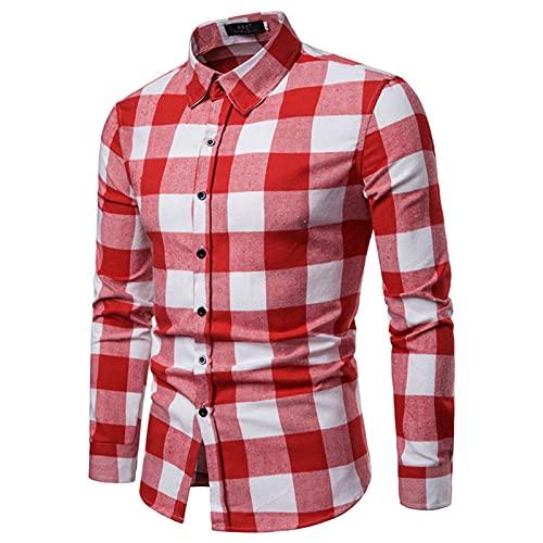 SSBZYES Camisas De Hombre Camisas De Manga Larga De Hombre Camisas a Cuadros Camisas De Manga Larga a Cuadros De Hombre Camisetas De Manga Larga Tops Casuales De Hombre