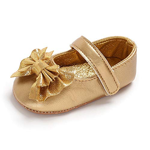 Felix & Flora Gold Baby Shoes Girl 6-12 Months - Infant Baby Walking Shoes Moccasinss Rubber Sole Crib Shoes(Gold,9-12 Months)