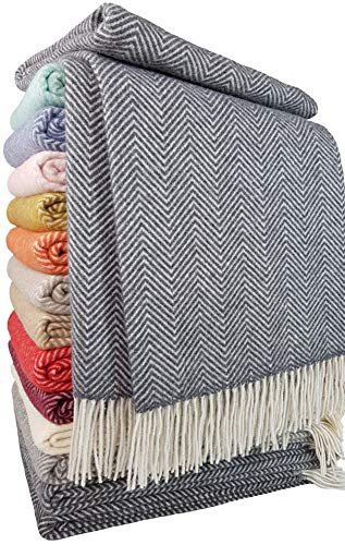 STTS International Wohndecke Wolldecke Decke Plaid Kuscheldecke 140x200cm Wolle Milano (Grau-Weiß)