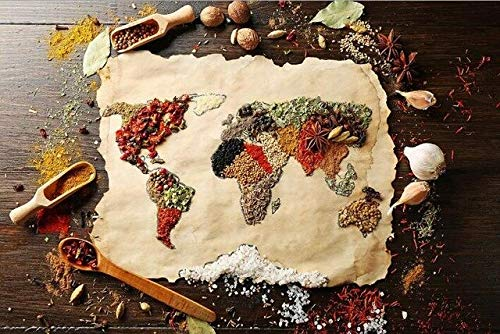 N / A World Map Poster Art Canvas Painting Made from Food Ingredients Decorative Painting Used for Home Decoration of Kitchen Room Frameless 30x45cm