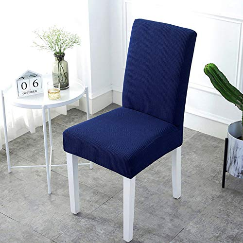 LIUL Super Soft Polar Fabric Chair Cover Elastic Spandex for Dining Room/Kitchen Stretch Chair Cover with Back,Navy Blue