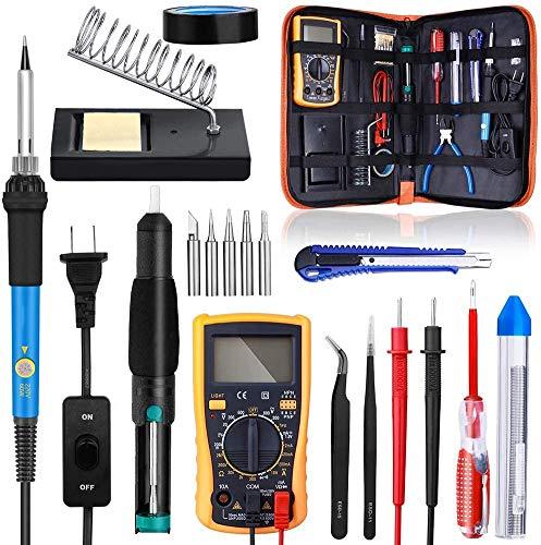 Juego de soldador eléctrico de 60 W, con multímetro, dispositivo de succión de estaño, destornillador, herramienta de reparación de cuchillos de uso general, utilizado para reparación electrónica