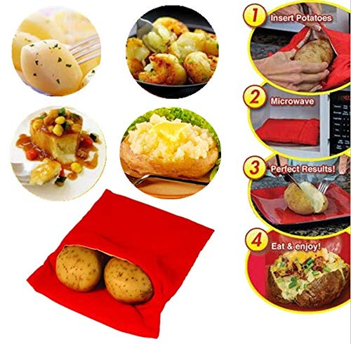 (3Pack) Mikrowelle Kartoffel Tasche, magnolian Mais, day-old Brot, Tortillas Herd Tasche, waschbar und wiederverwendbar, Rot