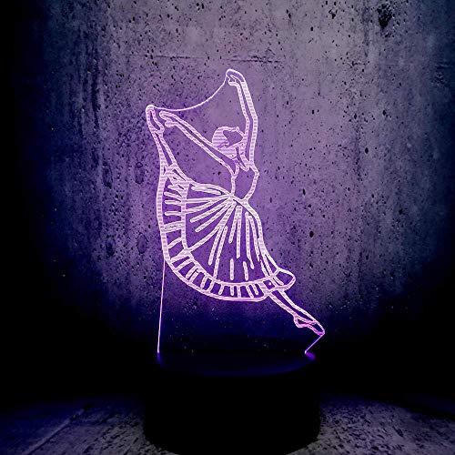 Lmpara de ilusin 3D Luz de noche LED Novedad Bailarina de danza moderna Dama USB Bailarina Decoraciones para fiestas Disfraz Amigo Linterna Los mejores regalos de vacaciones de cumpleaos para