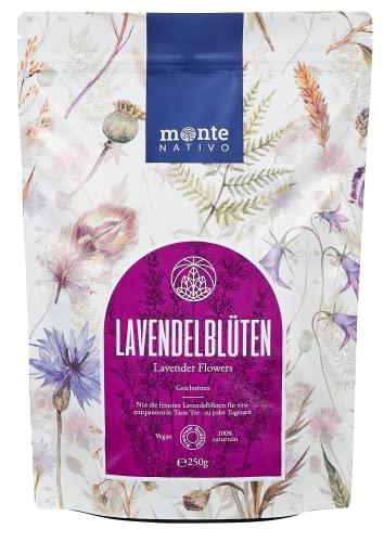 Lavendelblüten (250g) Monte Nativo - Lavendel getrocknet - ohne Zusätze - Blüten für Duftsäckchen und Lavendelsäckchen - 100% rein und natürlich - Zum Essen, für Tee oder als Duft