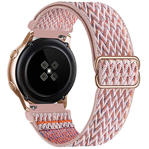 UHKZ 20mm Nylon Elastic Watch Bands Compatible with Samsung Galaxy Watch 4/Watch 4 Classic 42mm 46mm/Watch 3 41mm/Active 2 40mm 44mm/Gear S2,Adjustable Fabric Breathable Stretchy Wristband,Pink Sand