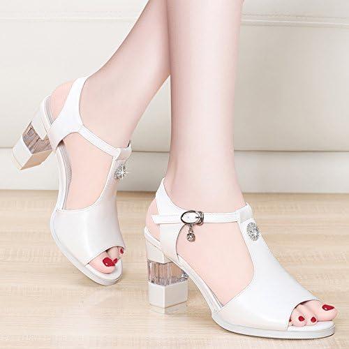 GTVERNH Bouche De De Poisson Des Sandales femmes Summer Milieu Talon Mère épaisses Chaussures Joker Talon 6 Cm De Chaussures à Talons Hauts Super Chaussures.  magasin fashional à vendre