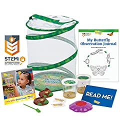 10 LIVE baby caterpillars and nutritious food Pop-up, reusable 12 inch tall mesh habitat Two Deluxe Chrysalis Station Logs and one Flower-shaped Butterfly Feeder STEM Butterfly Journal with learning activities Important NOTE! Please postpone your liv...