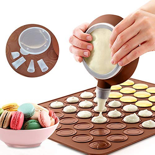 LangTek Backmatte für Macarons aus Silikon, Baiser Makronenplatte für 48 Macaroon Shells mit 1 Spritzbeutel und 4 Spitzen in verschiedenen Formen