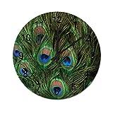Reloj de Pared Redondo de Plumas de Pavo Real, Relojes silenciosos rústicos, decoración del hogar de la cabaña del Campo de la Granja