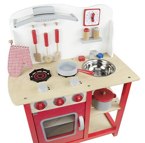 Leomark Classic Spielküche aus Holz - Farbe Rot - Kinderküche mit Zubehör, Holzküchemit Waschbecken, Pfanne, Backofen, Kochtopf, Küchenhelfern, Uhr, Funktionale Bunte Spielzeug, für Mädchen und Jungen, Höhe 75 cm - 5