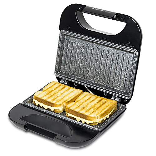 Cecotec Sandwich Maker with Grill Plates and Marble RockStone Coating Rock?nToast Square. 750 W. Locking Clasp and Cable-Storage Gap.