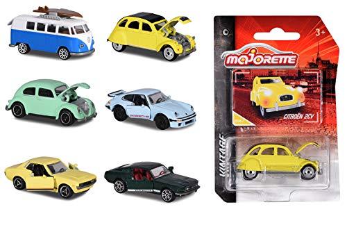 Majorette Vintage Assortment, Vintage Cars, Oldtimer, Spielzeugauto aus Metall, Miniaturfahrzeuge, Freilauf, Federung, Lieferung: 1 Stück, zufällige Auswahl, 6 versch. Modelle, 7,5 cm