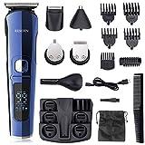Tondeuse Cheveux, RESCIEN Tondeuse Barbe Rasoir 6 en 1 pour Homme, Affichage LED Tondeuse Précision à Barbe/Cheveux/Sourcils/Corps/Nez/Oreilles avec 4 Sabots & Peignes & Sac, Impermeable USB