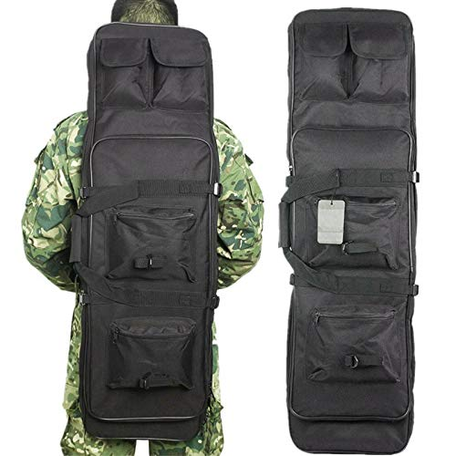 Queiting Outdoor Camping Shotgun Bag Dual Padded Rifle Case Tactical Gun Bag Backpack Shotgun Storage Oxford cloth Black 120cm