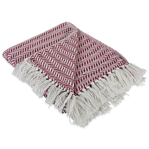 DII Modern Farmhouse Cotton Herringbone Blanket Throw with Fringe For Chair, Couch, Picnic, Camping, Beach, & Everyday Use , 50 x 60' - Herringbone Chevron Barn Red
