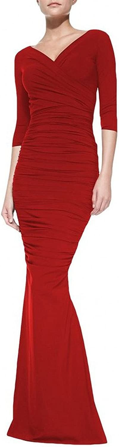 ANGELA Women's V Neck Ruffles Sheath Formal Long Evening Dresses with Sleeves