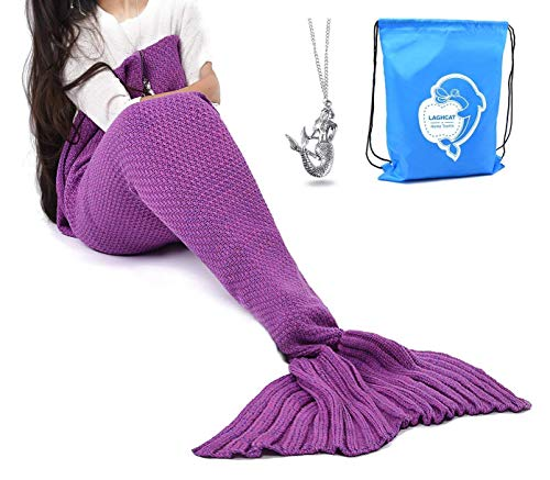 LAGHCAT Mermaid Tail Blanket Crochet Mermaid Blanket for Adult, Soft All Seasons Sleeping Blankets, Classic Pattern - 71x35.5 Inch, Violet