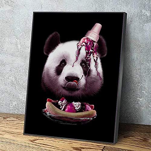 Puzzle 1000 Piezas Dibujos Animados Panda Imagen Helado Animal Lindo Pintura Arte Pintura Puzzle 1000 Piezas educa Rompecabezas de Juguete de descompresión intelectual50x75cm(20x30inch)