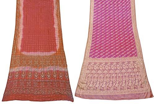 Peegli Paquete De 2 Piezas Saree Combo Ropa India Para Mujer 100% Seda Pura Sari India Vintage 5 Yardas Tela Tradicional Rojo Y Rosa Sari DIY Tela De Costura Material De Confección