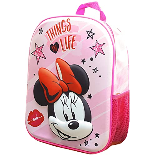 Skyline Mochila Escolar 3D, Minnie Mouse, Mochila Infantil para Niños, 25x31x10 CM, Mochila Poliéster+EVA, Material Escolar, Vuelta al Cole, Ideal para Niños