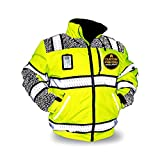 KwikSafety (Charlotte, NC) UNIVERSE Bomber Safety Jacket (LIMITED EDITION Pattern) Class 3 Hi Visibility Water Resistant ANSI OSHA Reflective Hoodie Winter Construction Gear Men | Yellow Extra Large