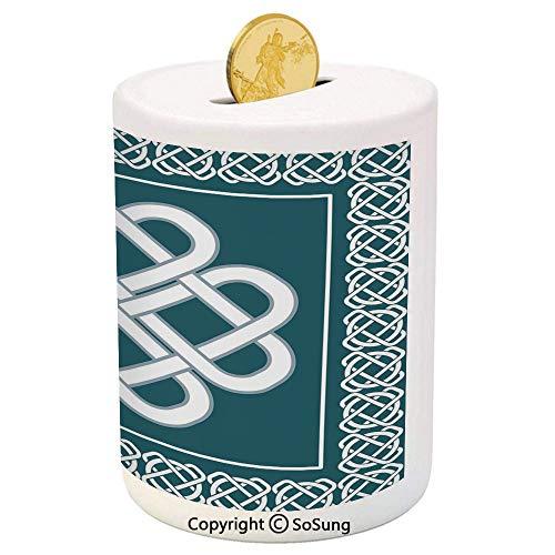 Irish Ceramic Piggy Bank,Celtic Love Knot Symbol of Good Fortune Framework Border Historical Amulet Design Decorative 3D Printed Ceramic Coin Bank Money Box for Kids & Adults,Blue and White