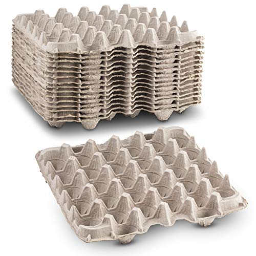 Biodegradable Pulp Fiber Egg Flats for Storing up to 30 Large or Small...