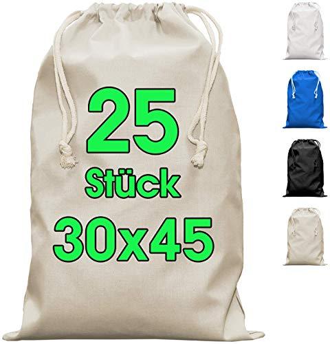 Zuziehbeutel Baumwollbeutel 25 Stück 30 x 45 cm - Rucksack Stofftasche Turnbeutel Bag, Beutel, Reise Haushalt, Jutebeutel zertifiziert Stoffbeutel Einkaufsbeutel mit Kordelzug zum bemalen in Natur