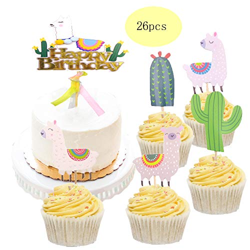 (Set of 26) Cute Llama and Cactus Cupcake Toppers, Alpaca Cake Decorations Cupcake Picks for Mexican Fiesta Theme Party Decor Llama Party Supplies Baby Shower Birthday Party