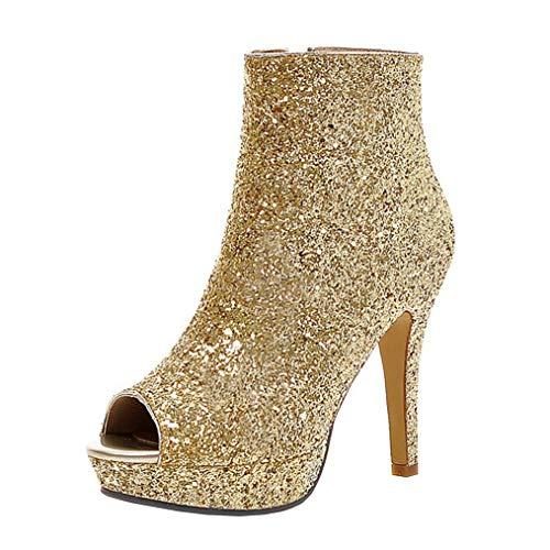 COCOLULU Damen Peeptoes Stiefeletten High Heels Glitzer Ankle Boots Stiletto Plateau Pailletten Schuhe(EU Size 40, Gold)