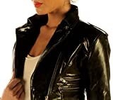 Ladies Leather High Waisted Short Jacket Cropped Waist Top Trendy Shop M85 (XLarge) Black