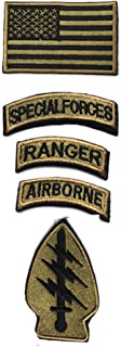 Military Patches, Tactical American Flag Patches Special Forces Ranger Airborne Badges 5 Pieces Hook and Loop Embroidered Morale Patch (Army Green)