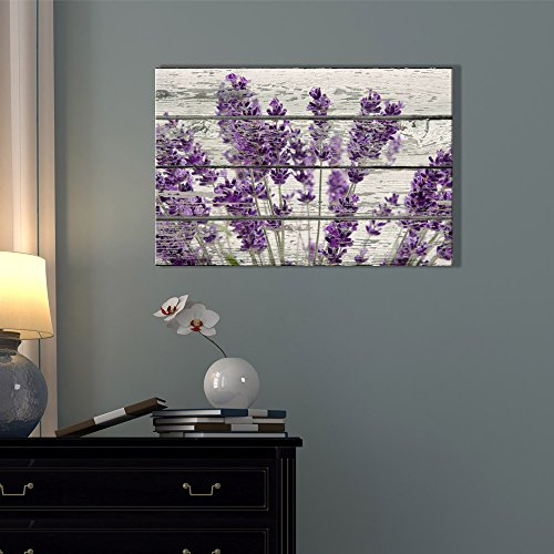 Wall26 Rustic Home Decor Canvas Wall Art – Retro Style Purple Lavender Flowers on Vintage Wood Background Modern Living Room/Bedroom Decoration Stretched and Ready to Hang – 16″ x 24″