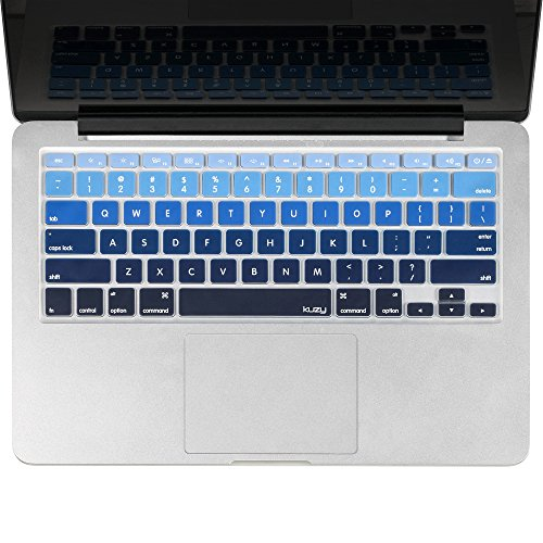 Kuzy - MacBook Keyboard Cover for Older Version MacBook Pro 13, 15, 17 inch and MacBook Air 13 inch, iMac Wireless Keyboard, Apple Computer Accessories Key Board Silicone Skin Protector - Ombre Blue