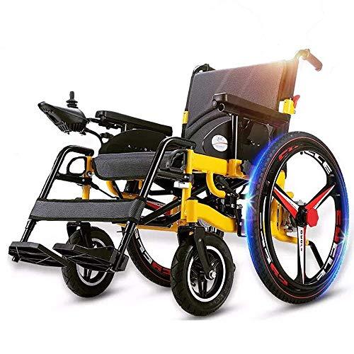 SHGK Leistung Elektrischer Rollstuhl Schwerlast Faltbarer Rollator Sitzbreite 50cm und 360 ° Joystick Sicherheitsgurt Abnehmbare Fußstützen Gewicht Kapazität 100KG