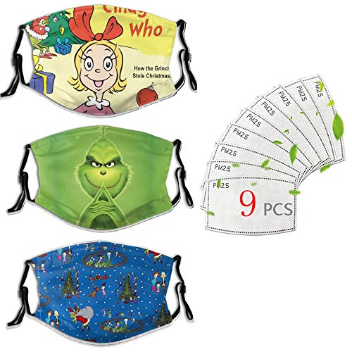 Personalized Reusable 3pcs Facial Decoration With Filters Breathable Adjustable Ear Loops Grinch Cute Cindy Lou Who christmas decorations clearance kids face mask christmas gifts christmas face masks
