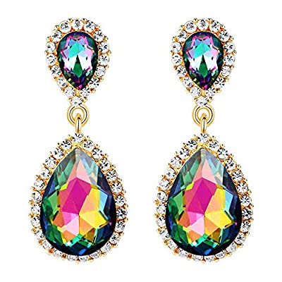 EVER FAITH Women's Austrian Crystal Prom Tear Drop Dangle Earrings Green AB Gold-Tone