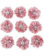 VOSAREA 10pcs Flatback Adornos de Flores Apliques Decorativos Flores de Tela para Manualidades DIY
