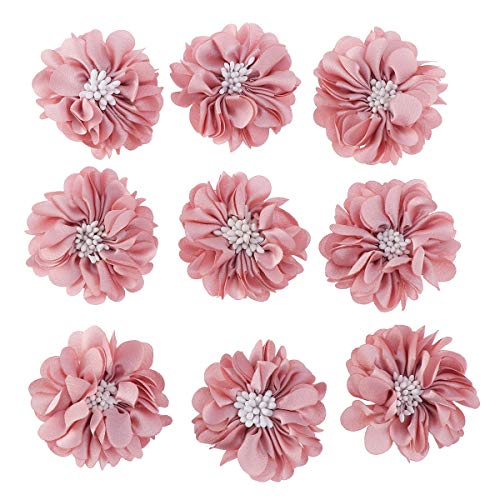 VOSAREA Kunstblumen Stoffblumen Blume Deko zum Basteln DIY Haarschleifen für Haarspangen Haar Accessoire 10 Stücke (Champagner)