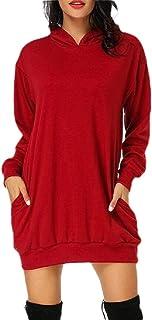 ouxiuli Women Sweater Dresses Slim Long Hoodie Tunic Sweatshirt Dress Zipper Pullover with Pockets