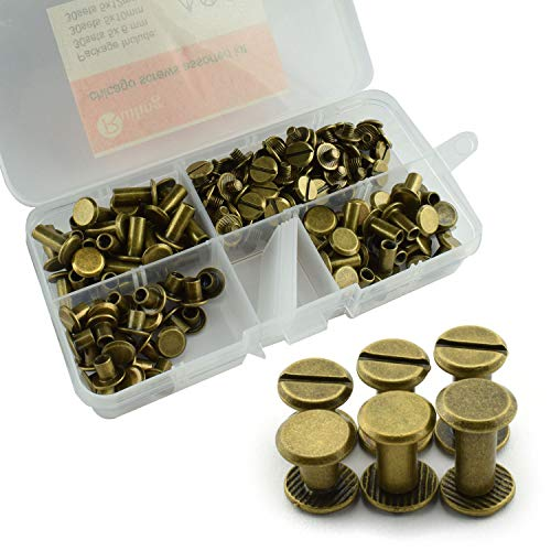 RuiLing 90 Sets Bronze Chicago Screws Assorted Kit Screw Posts Metal Accessories Nail Rivet Chicago Button for DIY Leather Decoration Bookbinding Slotted Flat Head Stud Screw 5x6/10/12mm